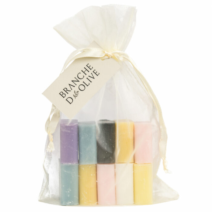 Ten small Branche d'Olive Soaps of mixed fragrances in a cream drawstring bag