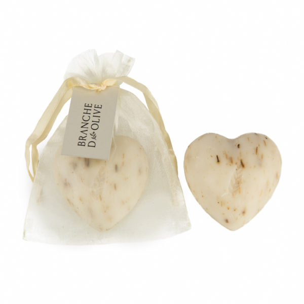 Heart-shaped Branche d'Olive White Lavender Soap in a cream drawstring bag