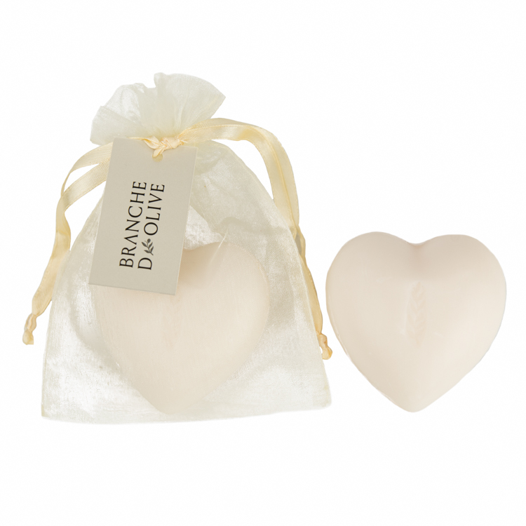 Heart-shaped Branche d'Olive Lily of the Valley Soap in a cream drawstring bag