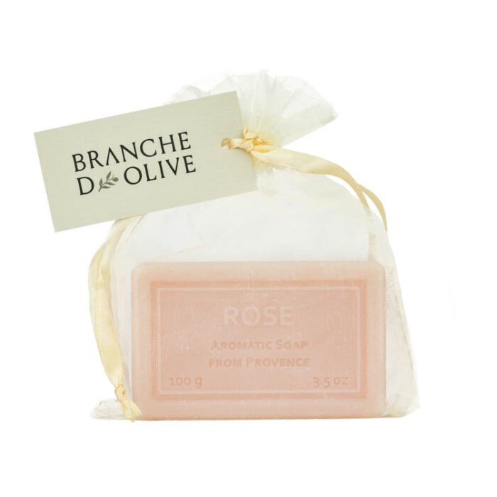 Large Branche d'Olive Rose Soap in a voile bag