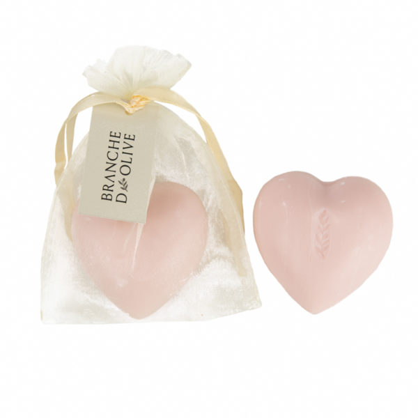 Heart-shaped Branche d'Olive Rose Soap in a cream drawstring bag