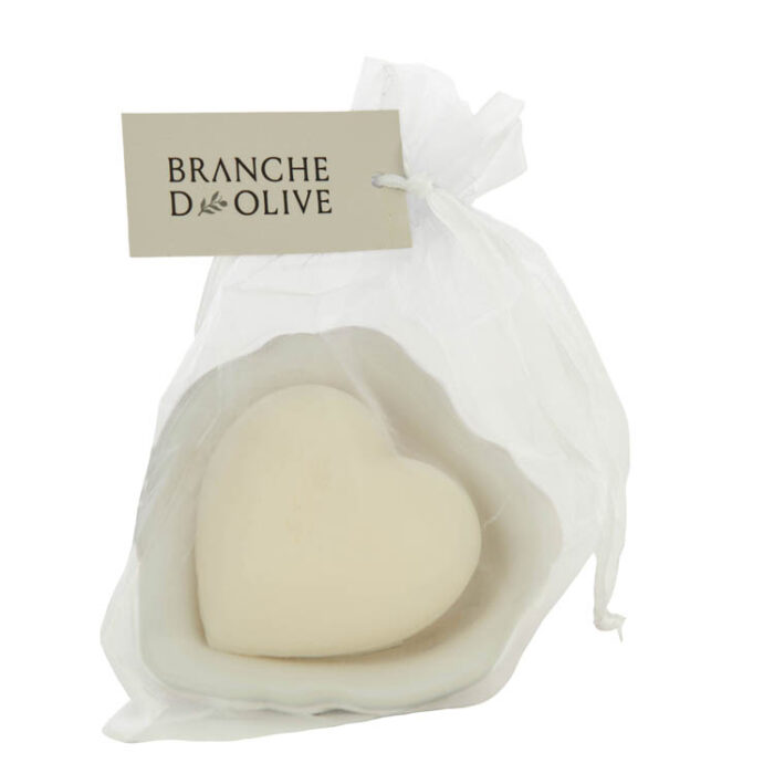 Heart Branche d'Olive Muguet Soap in a draining soap dish wrapped in a voile bag
