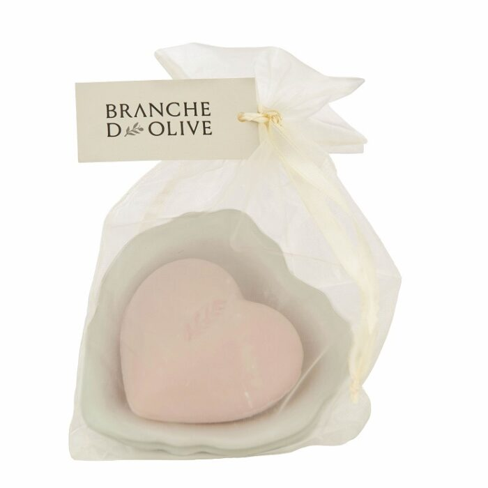 Branche d'Olive Rose Heart Soap with a white draining soap dish wrapped in a voile bag