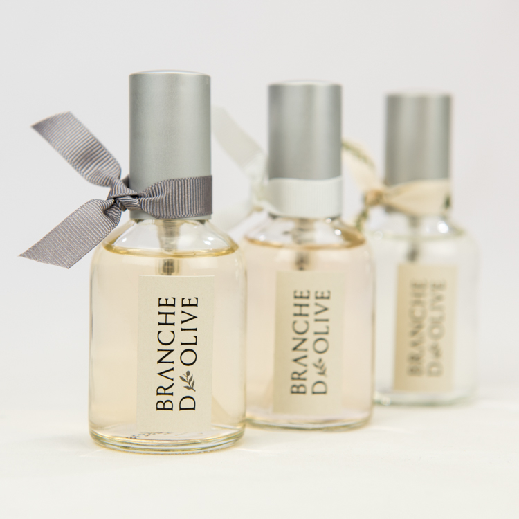 Three Branche d'Olive Pillow Mists in Provence Nights, Cloud and Feather fragrances