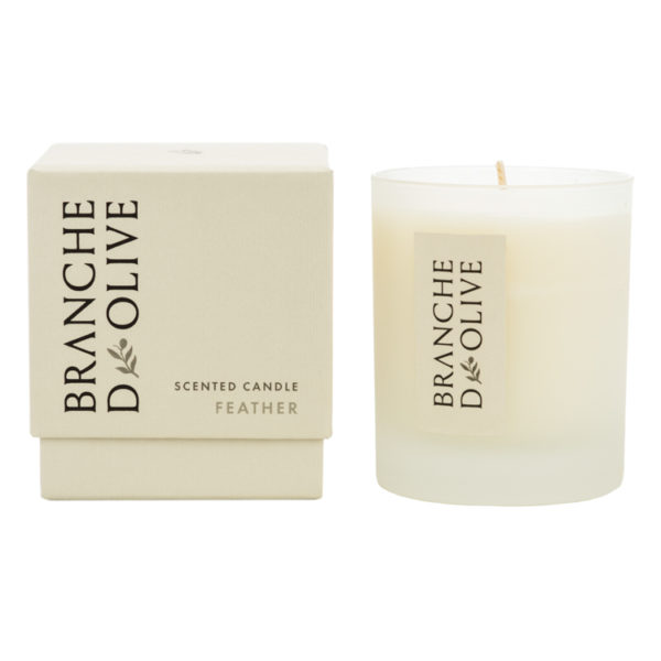 Branche d'Olive Feather Scented Candle and display box