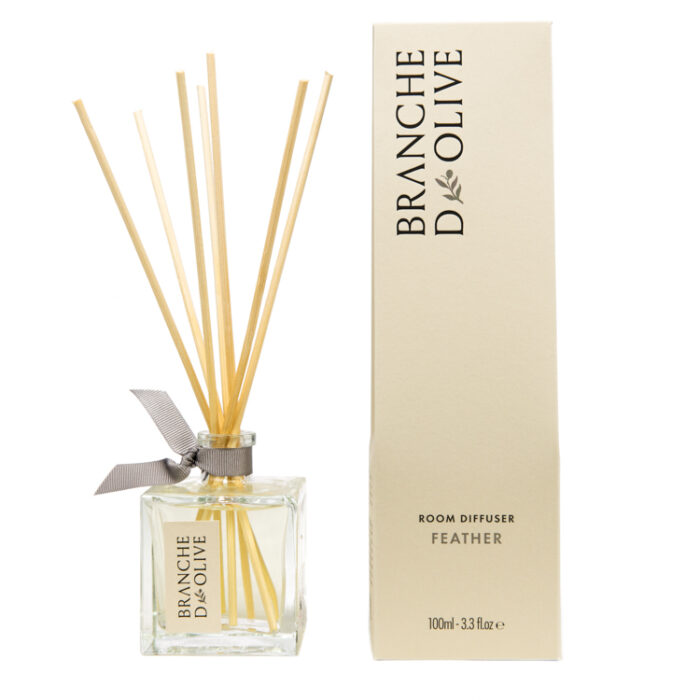 Branche d'Olive Feather scented Room Diffuser and display box