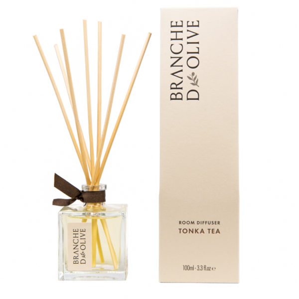 Branche d'Olive Tonka Tea scented Room Diffuser and display box