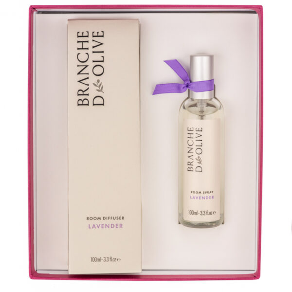 Branche d'Olive Lavender Room Diffuser and Room Spray Gift Box in pink