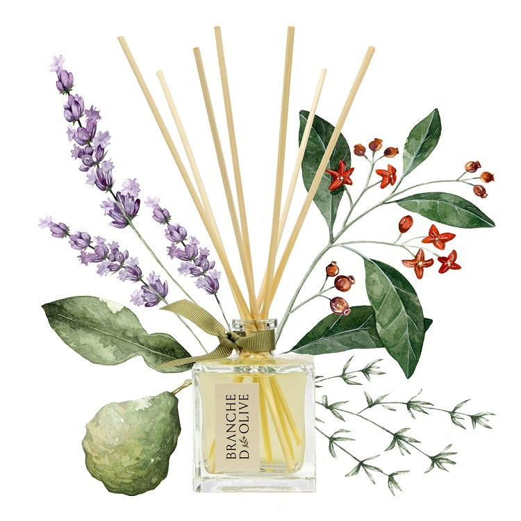 Branche d'Olive Garrigue Room Diffuser on a painted floral background