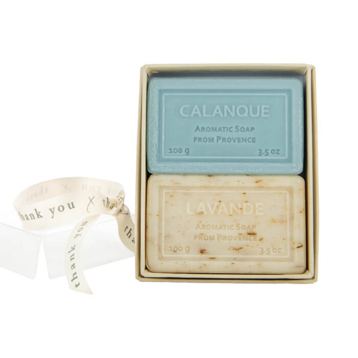 Calanque and White Lavender Boxed Soap with thank you ribbon
