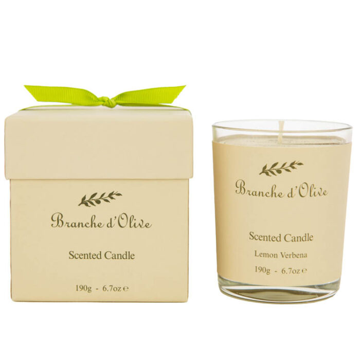 Lemon Verbena Branche d'Olive scented candle with gift box