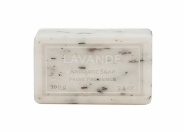 Wrapped Hand Soap (100g/3.5oz) - Lavender (White) With Crushed Plant-0