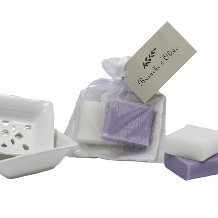 Bagged Small Draining Soap Dish with 2 x 30g soaps