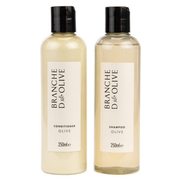 Bottles of Branche d'Olive Shampoo and Conditioner in Olive fragrance